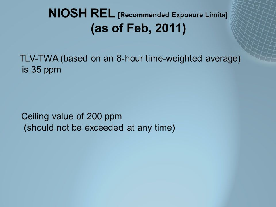 NIOSH REL [Recommended Exposure Limits]